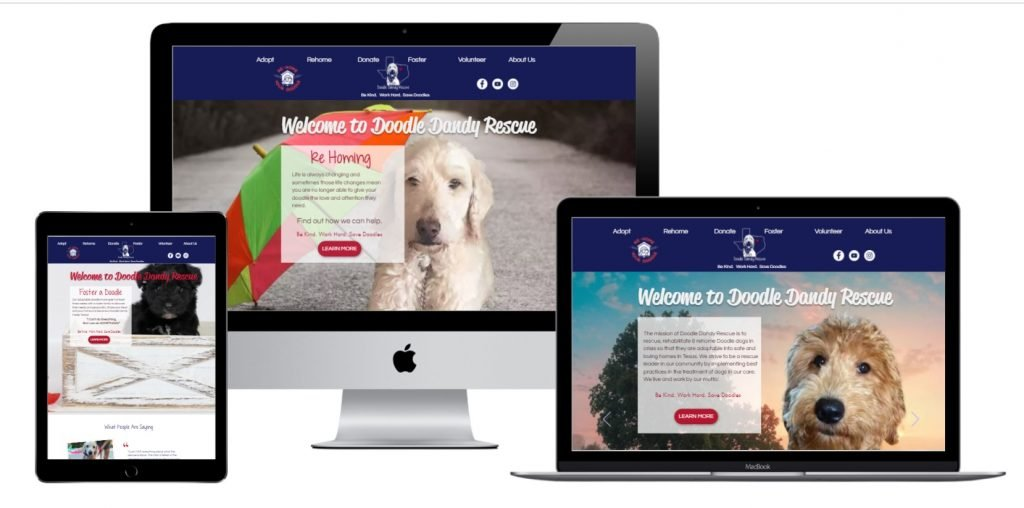 Screen shots of the Doodle dandy rescue homepage on desktop, tablet and mac book