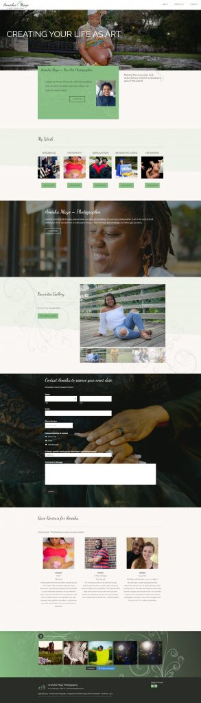 Full page screen capture of the Amesha Mayo Photography Website