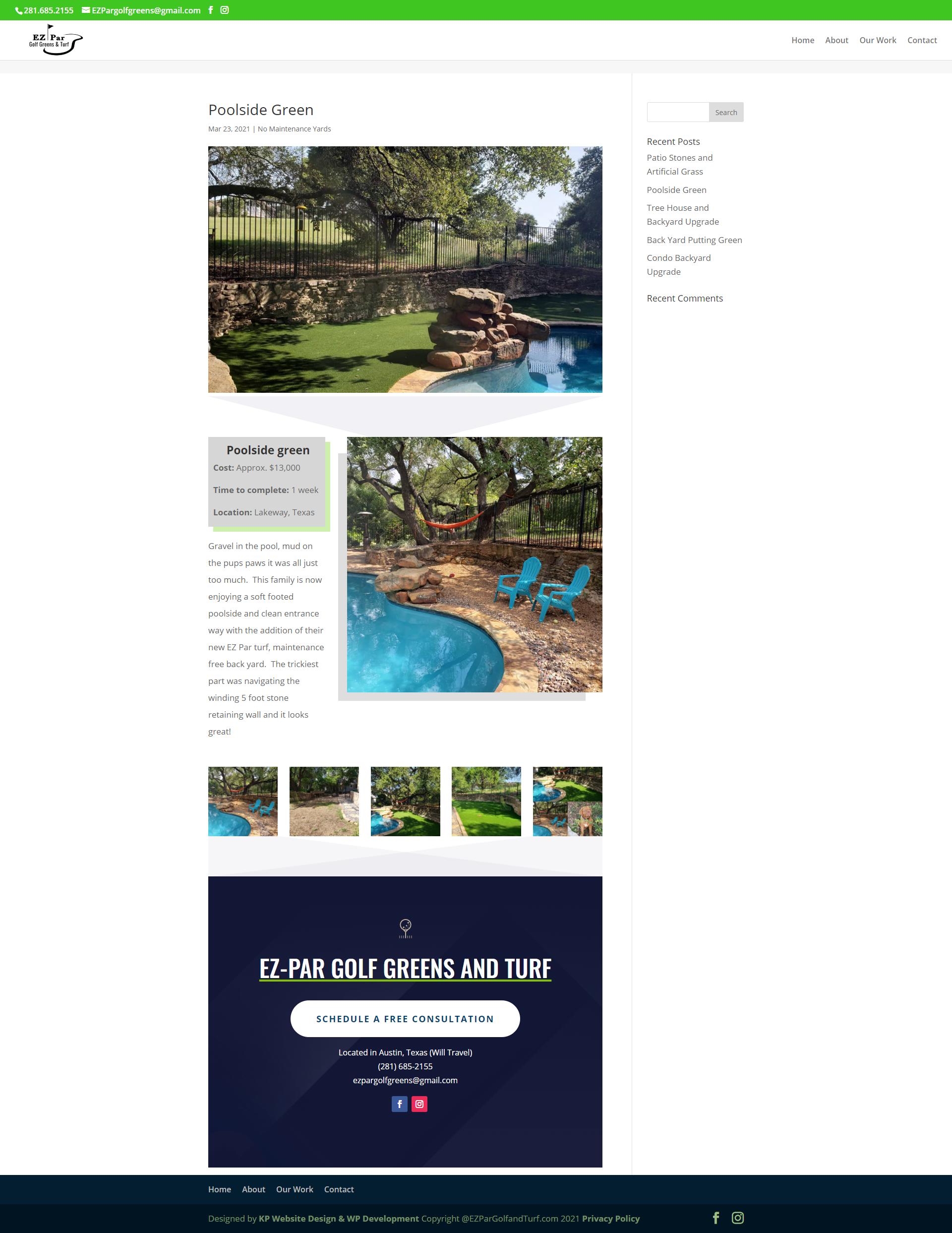 A screen shot of a backyard upgrade by EZPargolf and turf